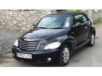 A Black 2007 Chrysler PT cruiser (Limited 2.4) convertible in good condition inside & out