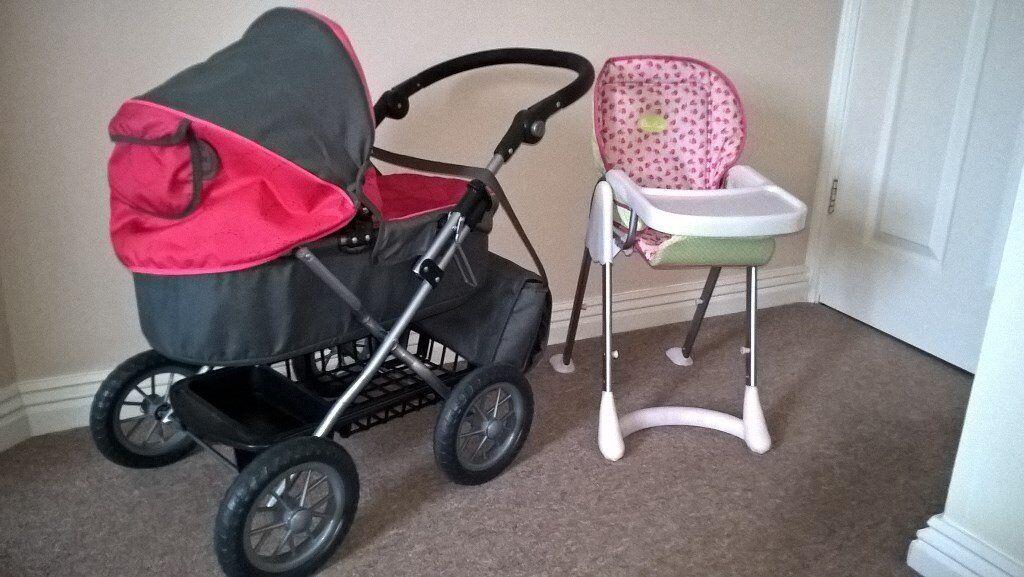 Silver Cross Childrens Pram ( Pink & Grey ) + High Chair