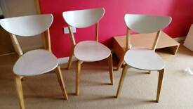 Dining chairs x3 white wood