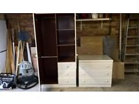 Childs wardrobe & chest of drawers.