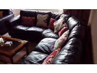 5 Seater Leather Corner Sofa + Matching Arm Chair