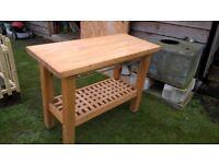 Kitchen work bench/butchers block in solid beech