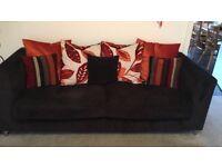 Black 4 Seater Sofa & Small Swivel Chair