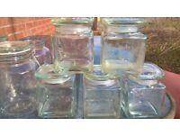 """11 glass Kilner preserving jars 5""""+7.5"""" sizes."""