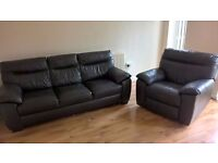 Dfs three seater brown leather sofa and matching electric recliner chair