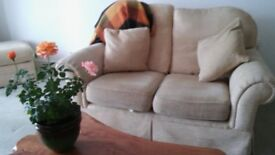 Two Seater Sofa & Two Armchairs with 2 Cushions and Footstool