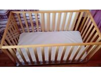 Wooden Mothercare cot. L124 W64 H79cm. Free Mattress!