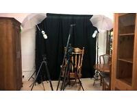 Professional photographer full setup equipment Canon camera, lights & lots more