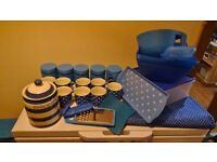 blue kitchen cups , storage and more