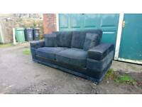 Black & charcoal 3 seater sofa & arm chair. Can deliver.