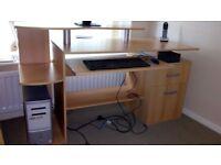 Desk & Swivel Chair for sale in excellent condition (desk Length 150cm x Width 60cm x Height 89cm.)