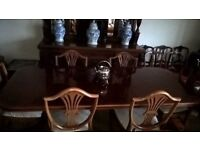 Large Victorian style, Yew Wood Dining Table & 6 Chairs, for sale £180.00