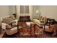 A set of two beige/cream sofas - US brand Caracole Light