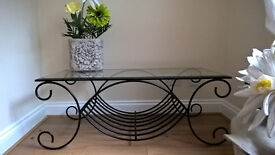 Wrought Iron & Glass Coffee Table VGC