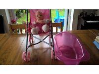 Small Toy Pushchair , Doll & Bath/ All Free