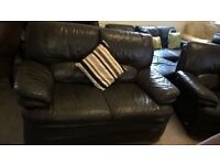 Brown Leather sofa 5 foot VGC Delivery Poss