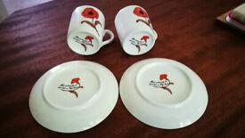 Vintage Avon Poppy Espresso / Coffee Cups + Saucers X2 Yugoslavia Red Poppies