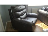 Leather style electric recliner armchair