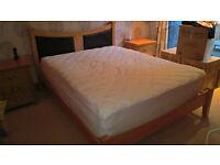 King Size Julian Bowen Bed, Oak with Leather inset headboard. Contemporary style