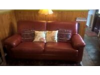 Sofa & Chair Italian Buffalo Leather Colour Lobster/Red Good quality & Condition.