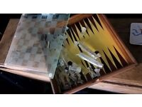 glass chess and backgammon set
