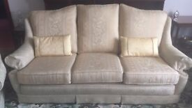 Three seater sofa and 2 armchairs