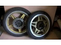 Honda CB400N Front and Rear Wheels with Avon tyres