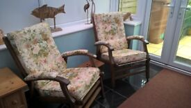 2 Lovely Old Matching Chairs With Brass Castors On The Feet.