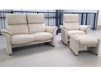 Similar Stressless 2 seat leather recliner sofa & 1 recliner chair & Stool 18918