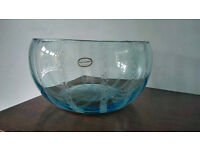 STUNNING VINTAGE RETRO LARGE PORTMEIRION TURQUOISE BLUE CONTROLLED BUBBLE BOWL