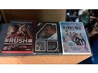 rush, formula 1, mamma mia dvd's
