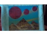 Original artwork. Series of Earth, pyramid and Galaxy pictures oil on canvas.