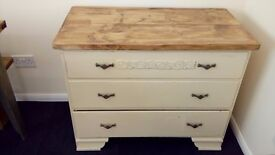 solid shabby chic set of drawers