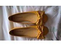 Ladies Yellow Patent Flat Shoes
