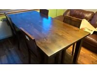 solid hardwood dining table.