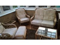 CANE FURNITURE SET 6 PIECES CONSISTING OF TWO CHAIRS, 2 SEAT SETEE, STOOL AND TWO TABLES.