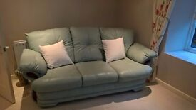 Leather 3 seater and 2 chairs