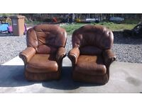 free two leather brown chaiirs