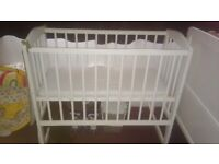 White Rocking Crib & Mattress Included