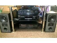 Kenwood amplifier, minidisc recorder, graphic equalizer with remote and 2 x mission speakers