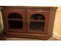 tv cabinet wood with glass panel front doors
