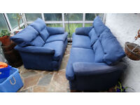 Sofa, Blue suede 3 seater and 2 seater sofa for sale