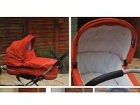 Emmaljunga red pram and pushchair