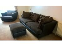 Brown Leather and Fabric sofa, chair and pouffe.