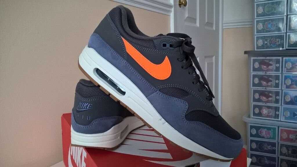 reputable site ce02c a8e04 NIKE AIR MAX 1 THUNDER GREY  TOTAL ORANGE UK 8 USED ONCE.