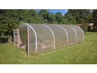 Polytunnel 5m x 7.5m, 5 x Aluminium sections, 2 x Double doors