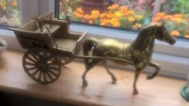 VINTAGE LARGE SOLID BRASS HORSE AND CART ORNAMENT