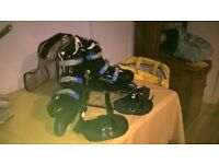 Roller Blades Size 6 Ladies Black Gloves Knee pads and Carry case.