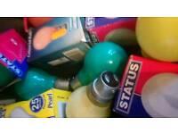 Assorted coloured bulbs baynet cap