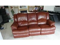 3 SEATER SETTEE AND 1 CHAIR ELECTRIC BROWN LEATHER